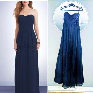 Navy strapless formal gown bill levkoff 10 NWT